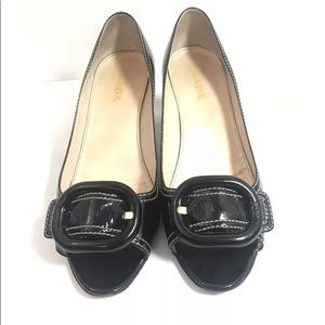 Prada Vero Cuoio Leather PeepToe Heels 37.5